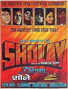 Sholay is 6th on the list of best action movies of bollywood